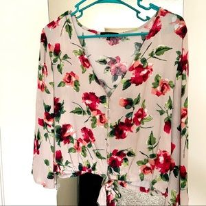 Floral Long Sleeve Top with Bell Sleeve
